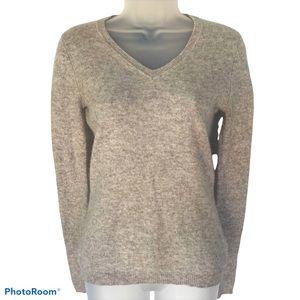 Tahari Pure Luxe 100% Cashmere Sweater Grey Marl S